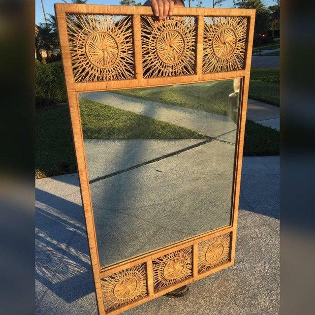 Rattan Boho Tropical Palm Beach Bamboo Oversized Wall Mirror - Image 9 of 11