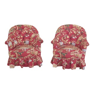 1900s Vintage Victorian Pheasant Print Small Upholstered Tufted Back Club Chairs- A Pair For Sale
