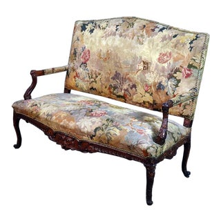 Flemish Tapestry Walnut French Louis XV Style Settee For Sale