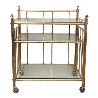 Three Tiered Brass & Glass Bar Cart With Horse Head Details Vintage Mid Century Hollywood Regency For Sale
