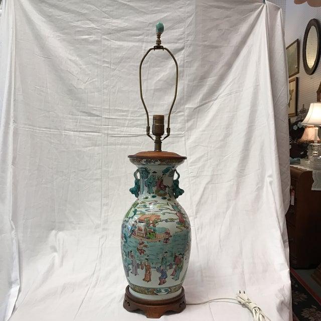Antique Japanese Porcelain & Wood Lamp - Image 2 of 11