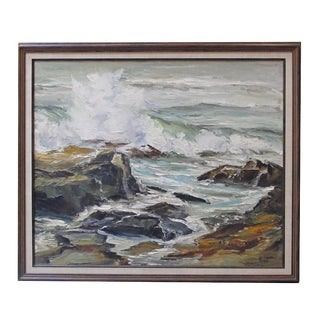 """Seascape"" Oil on Canvas 1950's by California Artist Lucille Kent For Sale"