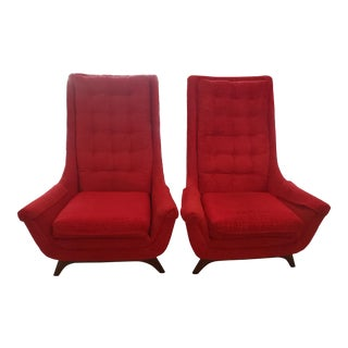 Back Midcentury Lounge Chairs - a Pair For Sale