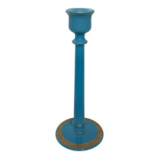 Vintage Blue Glass Gilt Candle Stick