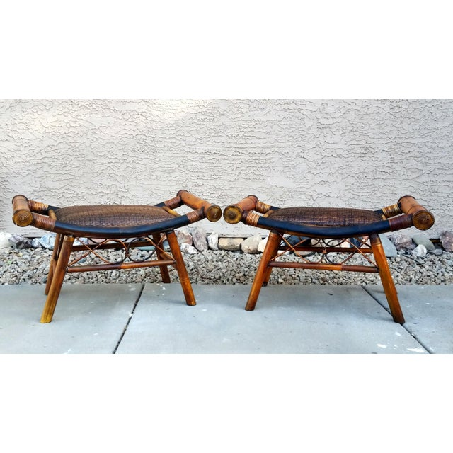 Pair of vintage bamboo footstools. Made in the style of boho chic in the1960s.