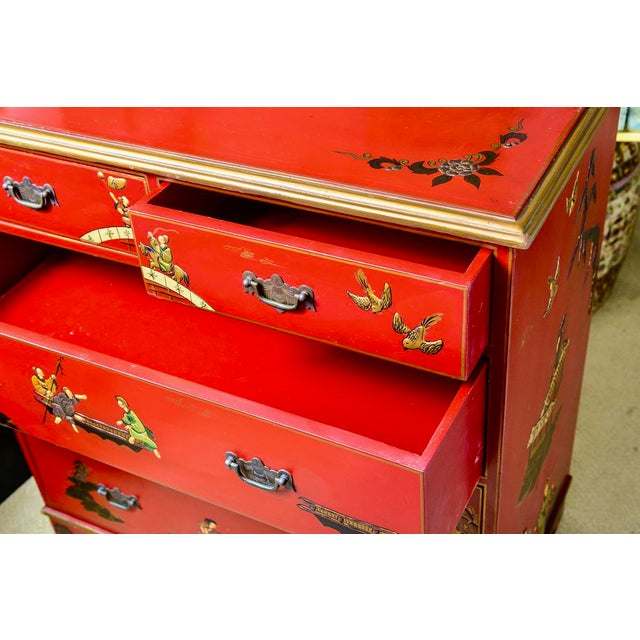 Chinoiserie Red Lacquer Chest of Drawers For Sale - Image 4 of 13