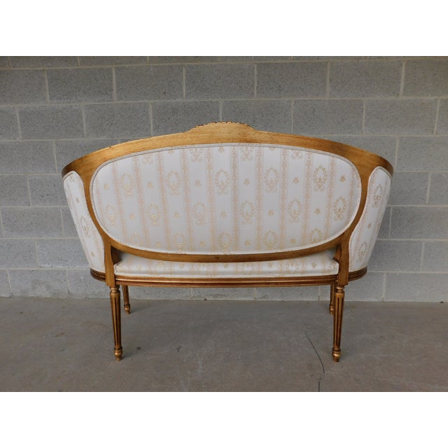 """Early 21st Century Quality Louis XVI Style Gilt Frame Settee Sofa 57""""w For Sale - Image 5 of 13"""