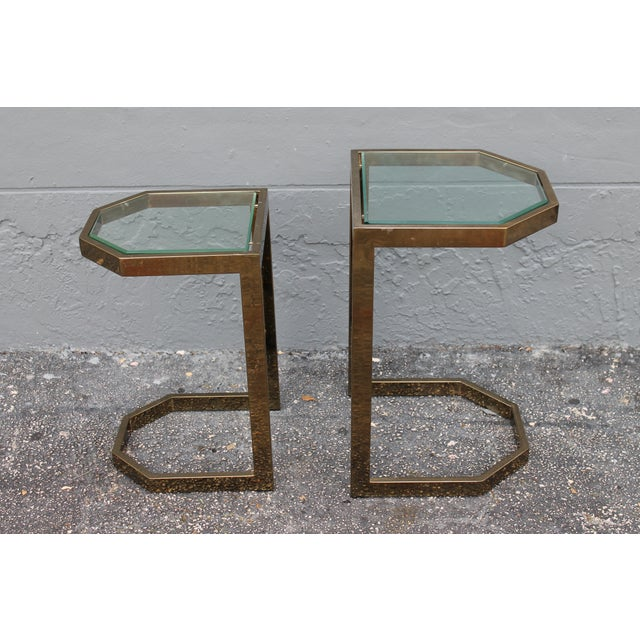 Mid-Century 2 Tier Brass Glass Nesting Tables - A Pair - Image 10 of 11