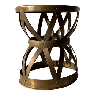 Vintage Hollywood Regency Hammered Brass Lattice Hourglass Drum Stool For Sale