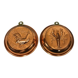 French Style Kitchen Copper Molds - A Pair