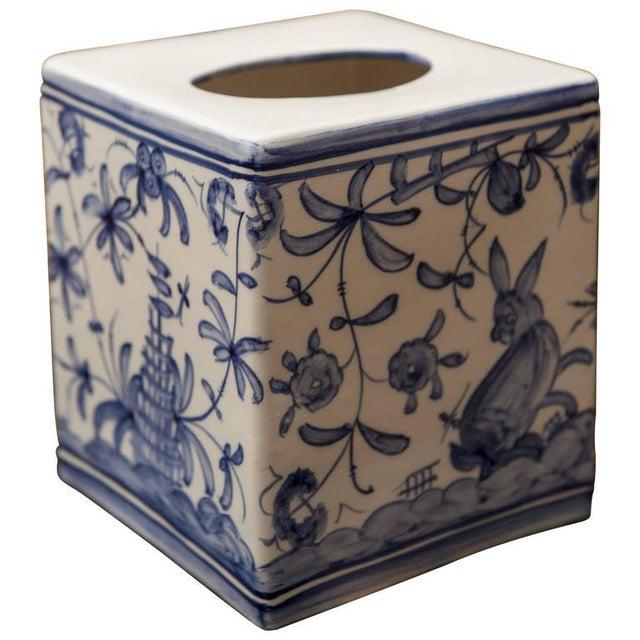 1960s Vintage Blue & White Tissue Box For Sale - Image 4 of 4