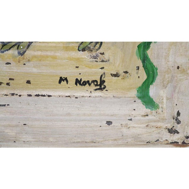Mladen Novak Acrylic Frog Painting on Antique Tin Panel For Sale - Image 4 of 6