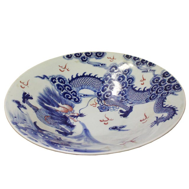 Chinese Blue White Dragon Painting Porcelain Charger Plate Bowl For Sale In San Francisco - Image 6 of 9