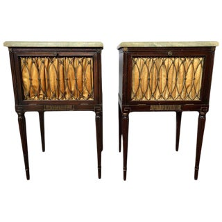 Pair of Maison Jansen Mahogany Marble-Top Nightstands or End Tables For Sale