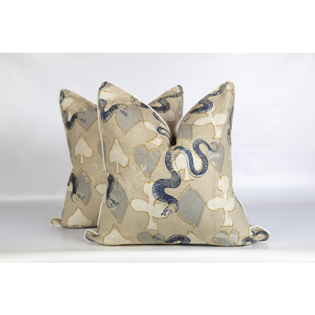 2020s Linen Serpent Abstract Pillows, a Pair For Sale - Image 5 of 6