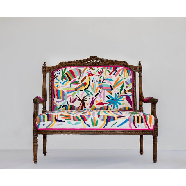 Louis XVI Otomi Hand Embroidered Louis XVI Settee For Sale - Image 3 of 3