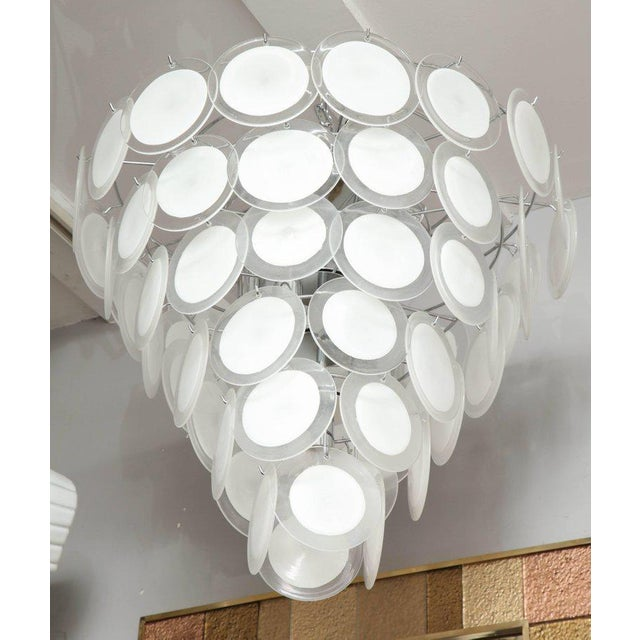 Murano White Glass Disc Chandelier For Sale In New York - Image 6 of 7