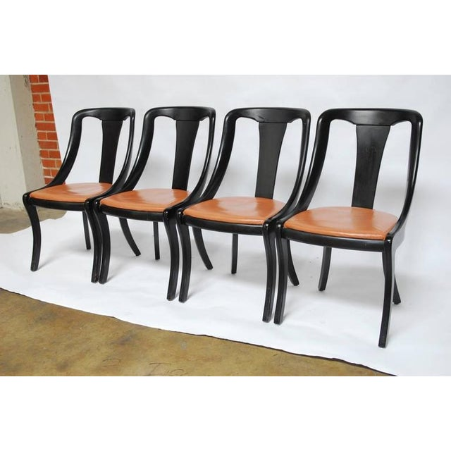 Set of Four Mid-Century Black Lacquer Dining Chairs - Image 3 of 10
