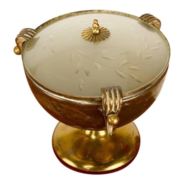 Brass & Glass Urn Table Lamp For Sale