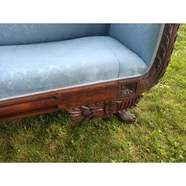 Traditional Antique Duncan Phyfe Style Victorian Blue Claw Foot Sofa For Sale - Image 3 of 13