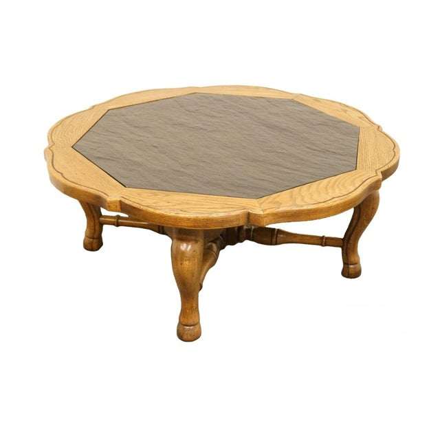 """Thomasville Furniture Chateau Provence Collection 42"""" Slate Top Coffee Table For Sale - Image 11 of 11"""