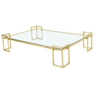 Faux Bamboo Brass and Glass Top Large Rectangle Coffee Table For Sale