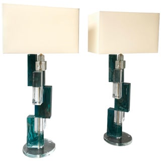 Pair of Contemporary Lamps Cubic Murano Glass and Brass For Sale