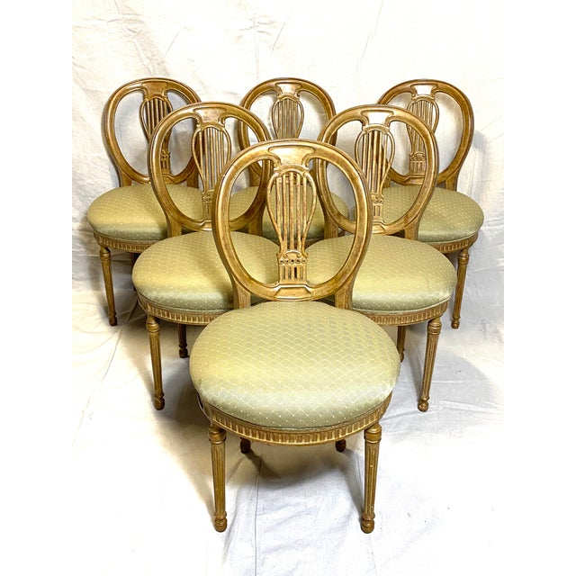 Rare Antique Set of 6 French Dining Chairs Balloon Back Silk Cushions Fabulous For Sale - Image 11 of 11