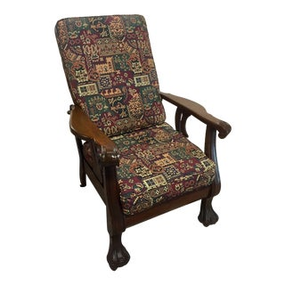 Antique Carved Lion Claw Oak Reclining Morris Arm Chair For Sale
