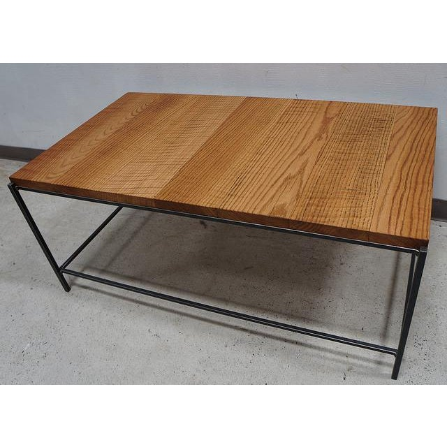 Industrial Modern Reclaimed Tiger Oak Iron Coffee Table - Image 2 of 3