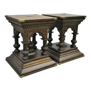 Pair Antique Oak Wood Gothic Pedestal Plant Stand Side End Tables With Handles For Sale