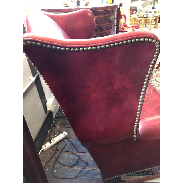 English Traditional 1950s Vintage Maroon Leather Wingback Chair For Sale - Image 3 of 13