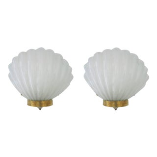 1950s Oversized Shell Sconces by Barovier E Toso - a Pair For Sale
