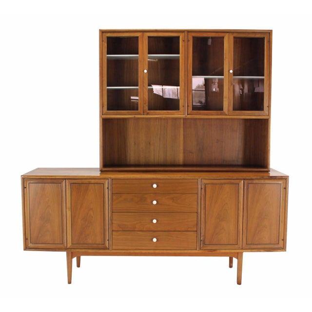 Drexel Declaration walnut sideboard credenza hutch light up cabinet. Lots of storage space beautiful looking walnut wood...