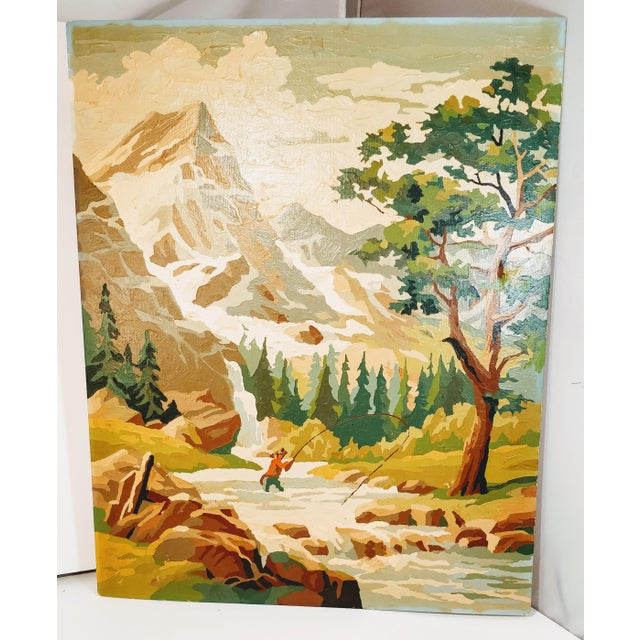 Vintage Paint By Number Pbn Fly Fishing Mountain River Mid Century Painting