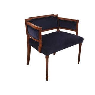 1970s Louis XVI Blue Velvet Bergere Chair For Sale