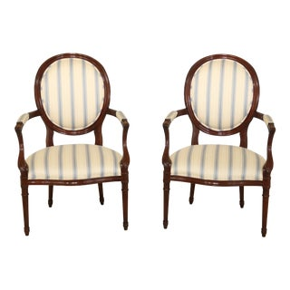 Pair Councill Craftsmen French Louis XVI Style Open Armchairs For Sale