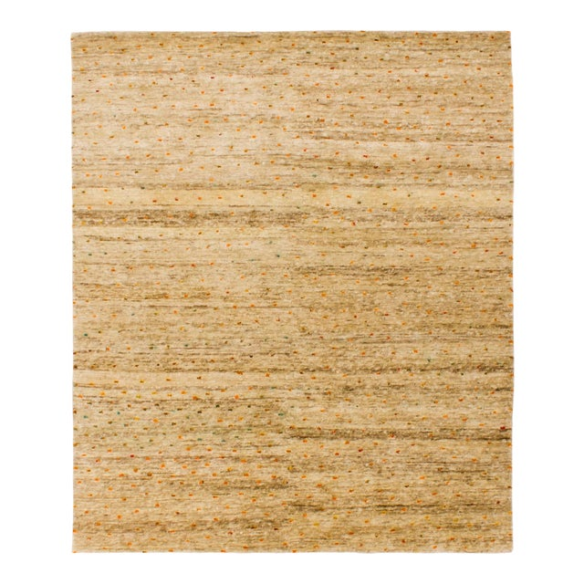 Solo Rugs Grit and Ground Collection Contemporary Confetti Day Hand-Knotted Area Rug, Natural, 8' X 10' For Sale