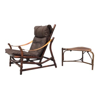 Leather Bamboo Lounge Chair With a Table 1960s For Sale
