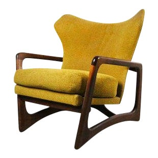 Adrian Pearsall for Craft Associates Sculptural Walnut Wingback Lounge Chair For Sale
