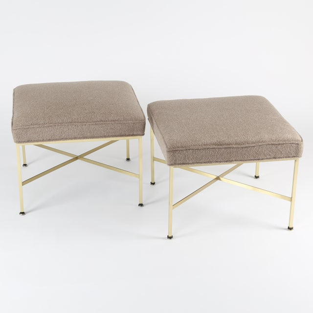 Paul McCobb for Calvin Furniture X-base stool with square tubular brass frames, flat brass stretchers and new luxury...