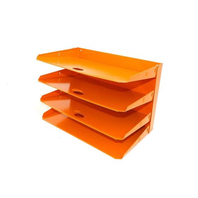 Industrial Orange Metal Desk Organizer For Sale - Image 3 of 7