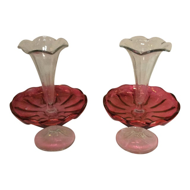 Antique cranberry colored Glass Epergne Vases- A Pair For Sale