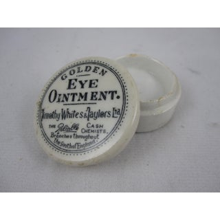 19th Century Staffordshire Transfer Printed Medicine Pot & Lid - Golden Eye Ointment Preview