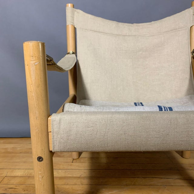 Oak & Canvas Safari Chair, Grainsack Seat, Worts Style For Sale - Image 4 of 11