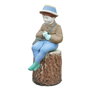 Vtg Concrete Boy Fishing Seated on Tree Stump Garden Statue Ornament Lawn Jockey For Sale