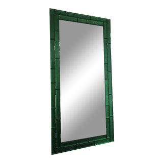 Italian Rectangular Mirror With Beveled Green Glass For Sale