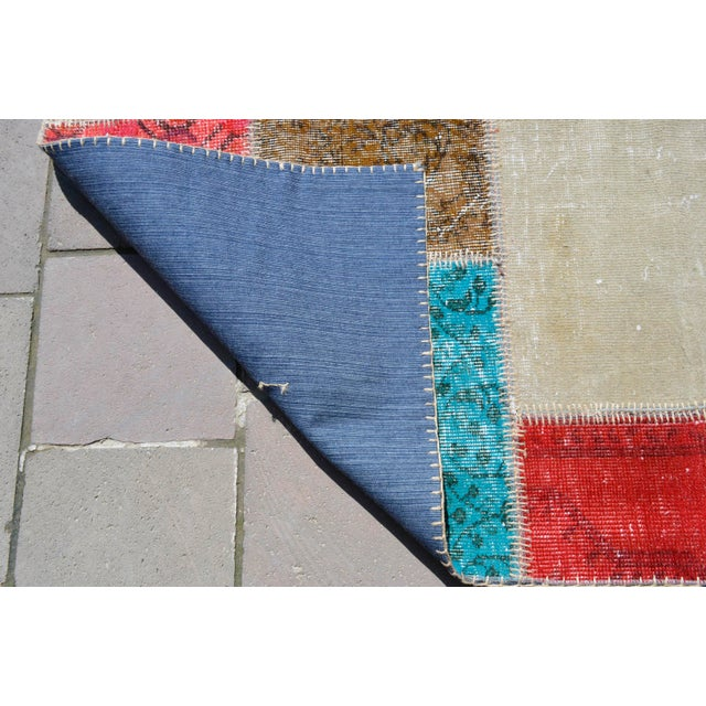 Blue Turkish Handmade Patchwork Rug - 4′7″ × 5′9″ For Sale - Image 8 of 8