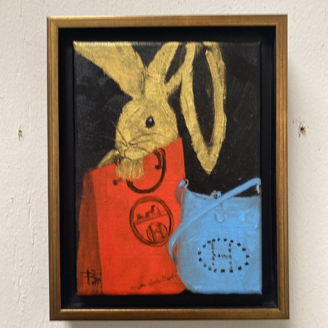 "2020s ""Bunny With Blue Hermès"" Contemporary Acrylic Painting, Framed For Sale - Image 5 of 11"