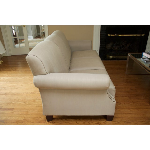 Tight Back Three Cushion Nailhead Trim Sofa For Sale In New York - Image 6 of 7